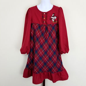 Disney Store Girls 5 6 Plaid Holiday Nightgown
